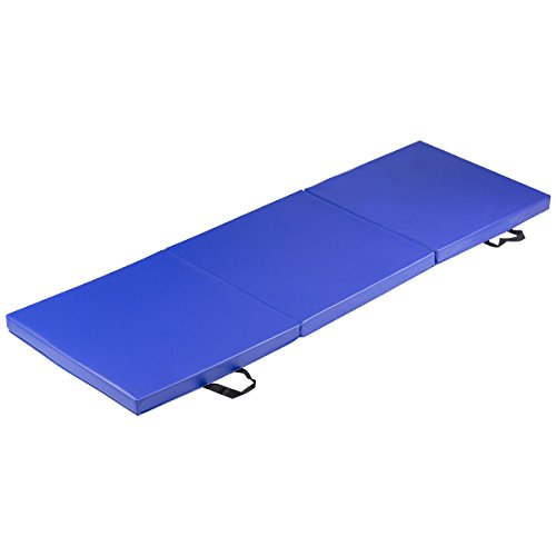 Tri-Fold Gymnastics Exercise Mat 6'x2′ Folding Fitness w/Carrying Handles Blue with Ebook