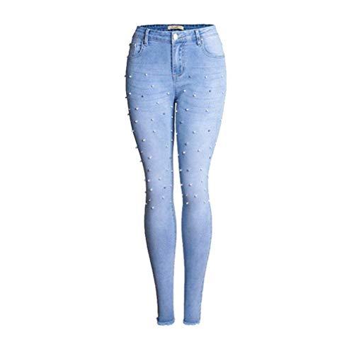 Abalorios Libre Mujer Casuales De Mezclilla Blau Aire Rotos Corte Hell Pantalones Mujeres Battercake Ajustado Con Vaqueros Estiramiento Al Ajustados WaI448