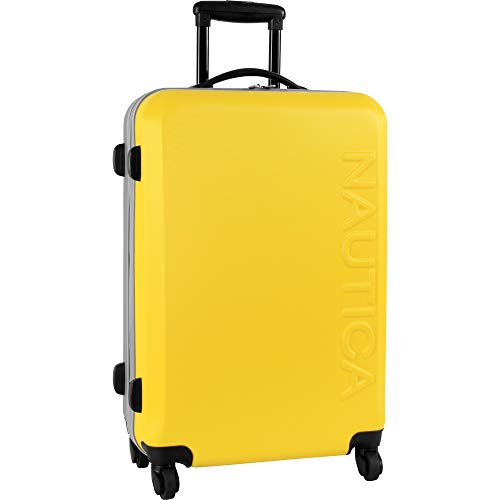 (Nautica Hardside Carry On Luggage - 20 Inch Spinner Wheels Suitcase Lightweight Rolling Travel Bag for Under Seat, Yellow/Silver)