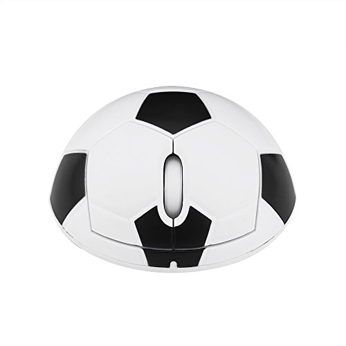 CHUYI Ergonomic Design Cool Soccer Shape 2.4GHz Wireless Mouse Optical Football Gaming Mouse Portable Office Mice with USB Receiver for PC Computer Laptop Funny Gift