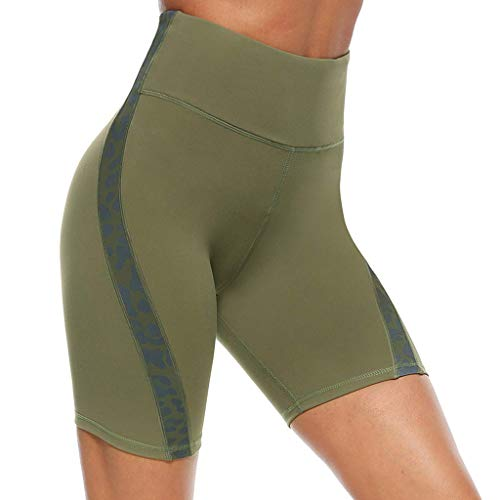 Ahagogo Yoga Pants High Waist Tummy Control Workout Running Stretching Yoga Leggings Womens Workout Shorts Gym Yoga Shorts Leggings Shorts Green