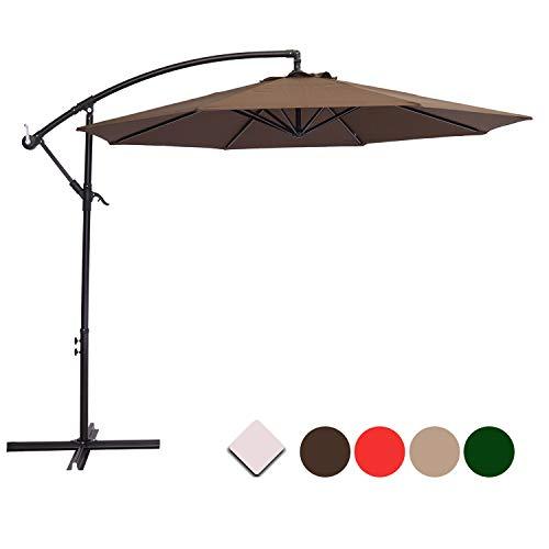 SUNNYARD 10 Ft Cantilever Patio Umbrella Outdoor Offset Hanging Umbrella, 8 Ribs,Coffee