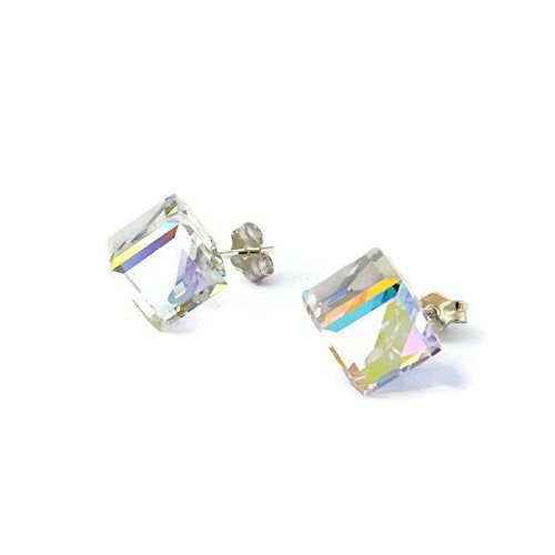 [Sterling Silver Large Cube Shiny Rainbow White Swarovski stud earrings for girls and woman - 8mm - handmade with love - Swarovski April] (Princess Tiny Feet Costume)