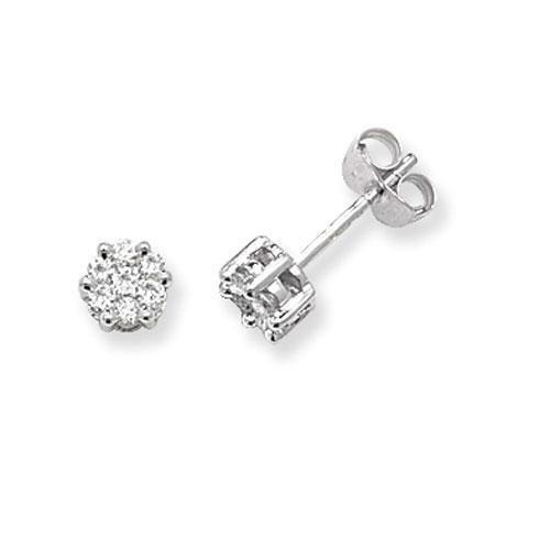 Diamant rond Boucles d'oreilles clous Femme-Illusion Lot de 9carats G/H/SI 0,33carats