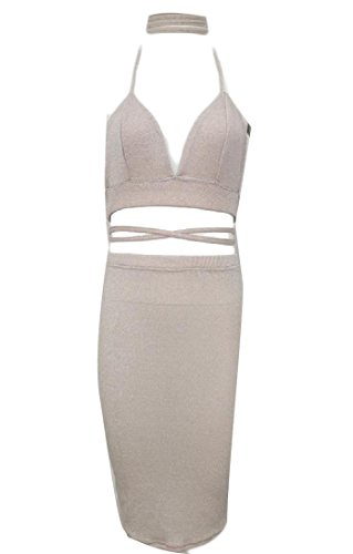 Women Sexy Solid Coolred Halter Cropped Club Bandage Apricot 2pcs Dress dRSwpq