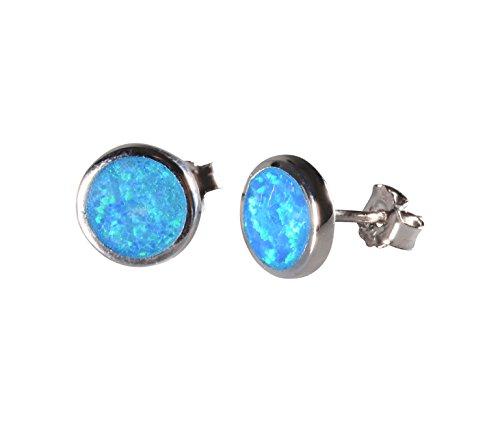 Silver stud earrings round opal stud earring 925 sterling silver blue fire synthetic opal stud earrings (blue opal)