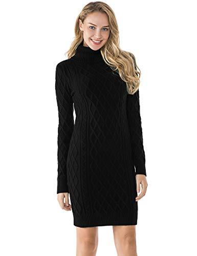 Lynz Pure Women's Turtleneck Sweater Long Sleeves Sweater Dress Slim Fit Jumper Dress Black S