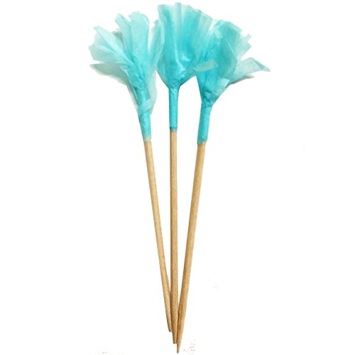 Simply Baked Paper Frill Appetizer Toothpick, Turquoise Frill on Natural Wood Pick, 2.5-Inch, 40-Pack, Disposable and Sturdy by Simply Baked