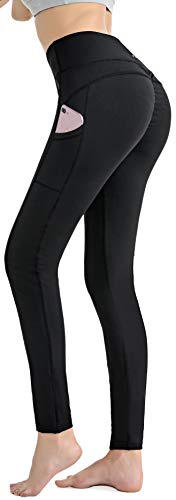 RUNNING GIRL Women Sexy Butt Lifting Yoga Pants with Pockets Push Up Leggings High Waist Workout Leggings Activewear for Running Gym(2201, Black,M)