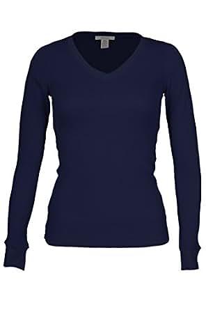 Bozzolo Women's RT1205V Waffle Thermal V Neck T Shirt Navy Small