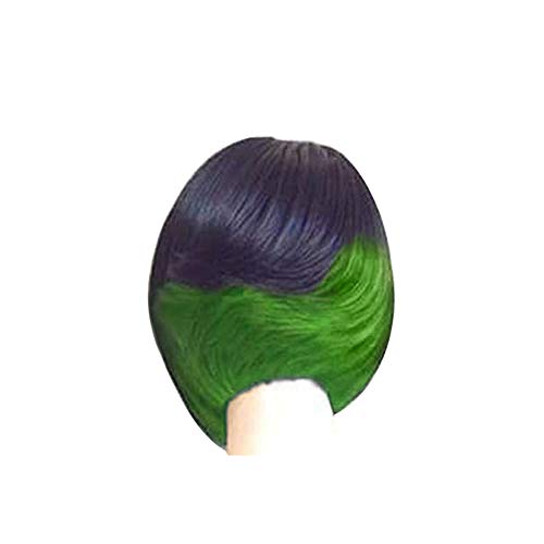 lightclub Gradient Mixed Color Shoulder Length Bob Wig Short Straight Wig Women Party Cosplay Hairpiece for Party Cosplay Club Bar Christmas Halloween Costume Black + Green ()