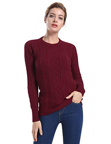 ninovino Women's Pullover Sweater Jumper - Crew Neck Cable Knit Red(Thick) M ()