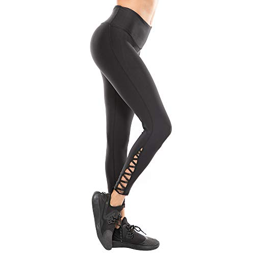 EJAYOUNGer Leggings with Pockets Non See-Through Yoga Pants Tummy Control High Waist Compression Pants(Medium) Black