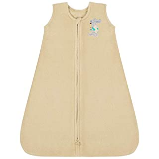TILLYOU All Season Micro-Fleece Baby Sleep Bag and Sack with Inverted Zipper, Unisex Clothes for Toddlers Age 12-18 Months, Sleeveless Warm Soft Plush Wearable Blanket TOG 1, Large L, Khaki Crocodile
