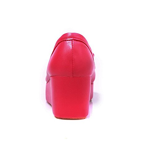 Allhqfashion Womens Kitten Hakken Solid Pull Op Zacht Materiaal Ronde Gesloten Teen Pumps-schoenen Rood