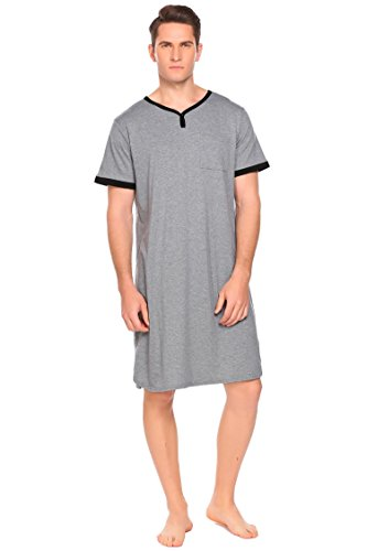 Aimado Big & Tall Nightshirt Men's Sleeping Gowns Long Henly Pajama (Gray, Small)