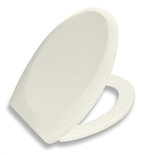 Bath Royale Premium Elongated Toilet Seat with Cover, Biscuit-Linen, Slow-Close, Quick-Release for Easy Cleaning. Fits All Elongated (Oval) Toilets