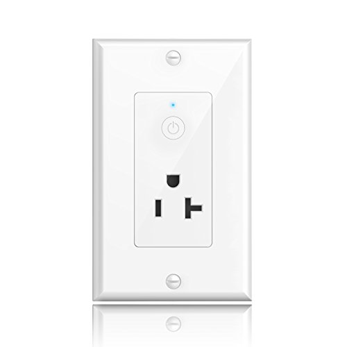 Smart Wall Outlet, Oittm Wi-Fi In-Wall 20 Amp Socket w/ Energy Monitoring, Timing Function, Remote Control Your Devices Anywhere, Works with Amazon Alexa, Google Home (Android 4.1 / iOS 8.0 (20 Wifi Phone)