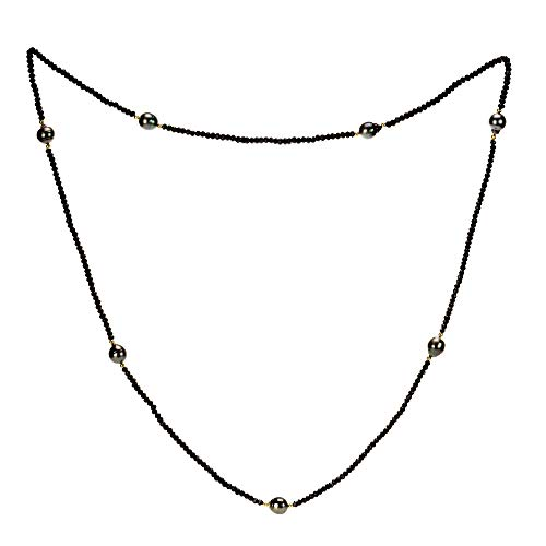 (La Regis Jewelry 14k Yellow Gold 8-10mm Black Baroque Tahitian Cultured Pearl 3-4mm Simulated Onyx Endless Necklace,)