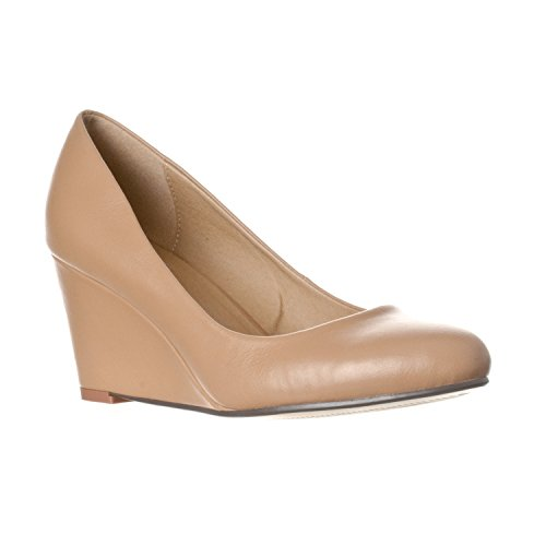 Toe Mid Heel Pumps - Riverberry Women's Leah Mid Heel Round Toe Wedge Pumps, Taupe PU, 6