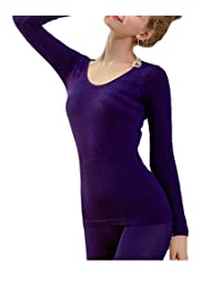 Cromoncent Women's Modal Warm Two Pieces Seamless Thermal Underwear Sets