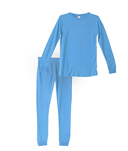 (Habit Rags -- Boys and Girls Organic Bamboo Two Piece Thermal Underwear Long John Pajama Set for Toddlers and Big Kids (12, Sky Blue))