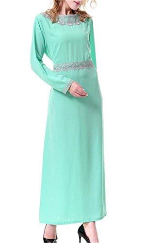 Maxi Luce Caftano Girocollo Arabica Verde Stampa Domple Vestito Pizzo Womens Musulmano Ta840