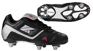 70a214786ac2 Kooga Harrier LCST 6-Stud Junior Rugby Boots Black Grey Red - UK 5 ...