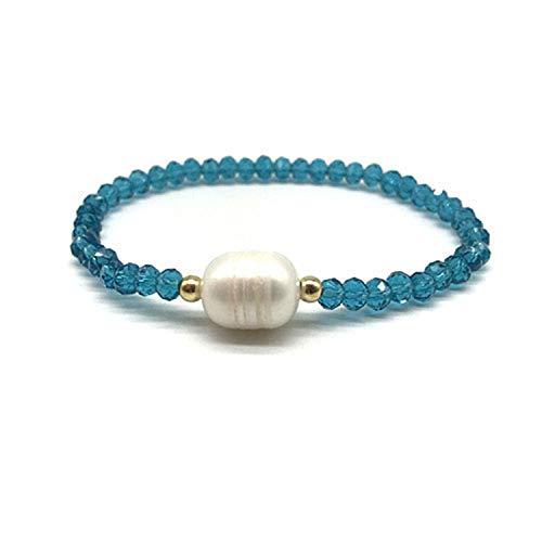 CUTEDAY Crystal Glass Beads Natural Freshwater Pearl Bracelets for Women Elastic Line Handmade Strand Bracelets Fashion Beaded Bracelet Peacock Blue ()