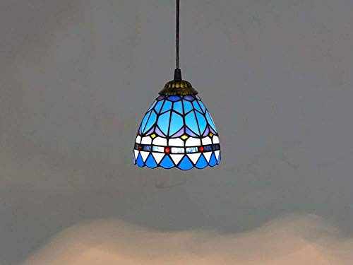 - Dobany Vintage Tiffany Style Chandelier Mediterranean Blue Stained Glass Ceiling Light Bar Restaurant Pendant Light 15CM