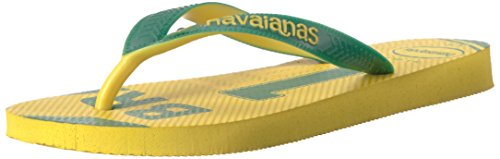(Havaianas Unisex Teams III - Brazil Sandal,Yellow/Green,41/42 BR (11-12 M US Women's/9-10 M US)