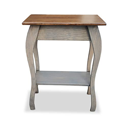 Slim Wooden End Table Amish Furniture | Thin Narrow Side Tables for Living Room, Hallway, or Nightstand (Pewter)