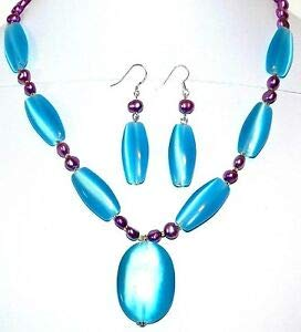 Steven_store GN358 Blue Cat's Eye Glass & Purple Freshwater Pearl 19