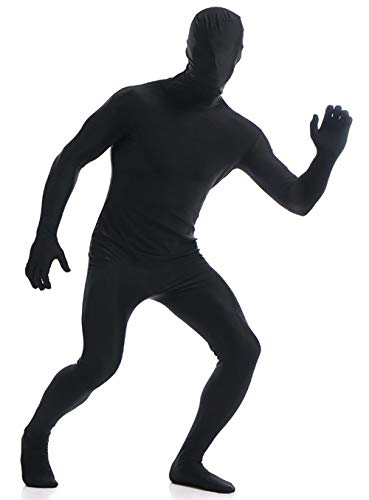 VSVO Black Zentai Full Body Costume Bodysuit (Medium, Black)]()
