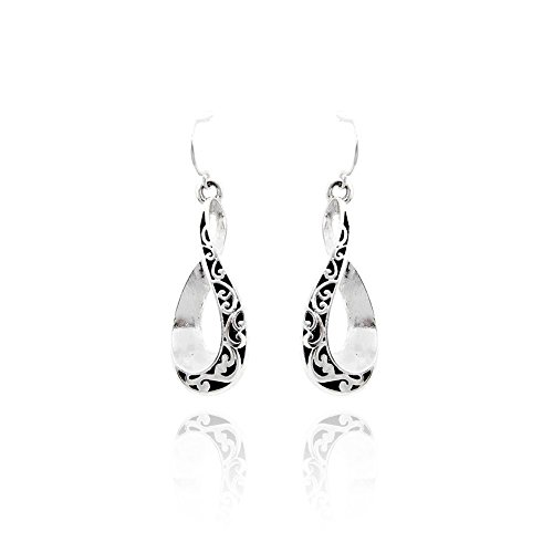 Silver and Black Filigree Stylized Infinity Drop Earrings ()