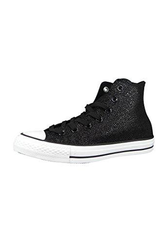 Mandriles conversar 553345C CT AS piel de raya Negro Negro Blanco, Converse Schuhe Damen Leiste 10A:41