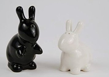 (Bunny Rabbit Salt & Pepper Shaker Set, Black and White By 180)