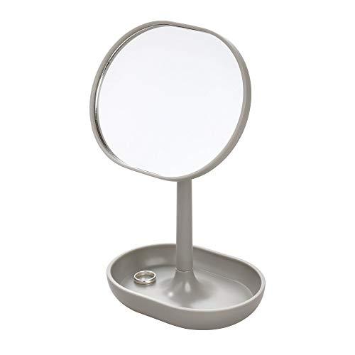 - InterDesign Cade Plastic Round Vanity, Standing Makeup Mirror and Accessory Tray for Countertop, Bathroom, Bedroom, Desk, Dorm, Matte Gray