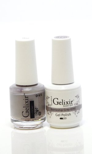 Gelixir matching color & nail lacquer Battleship Grey -036
