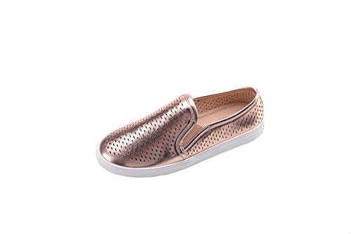 Mila Lady (EMILY) Frauen Canvas Slip On Laser Cut Mode Turnschuhe, Roségold