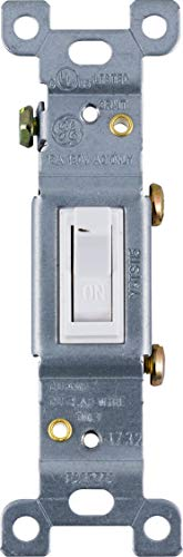 (GE Grounding Toggle Switch, Single Pole, In Wall On/Off Fan & Light Switch Replacement, 15 Amp, Great for Home, Office & Kitchen, UL Listed, White, 54161)