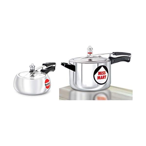 Hawkins Miss Mary Aluminium Pressure Cooker, 5 Litres, Silver & Hawkins Contura Pressure Cooker, 2 Litres, Silver