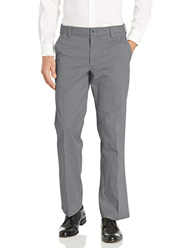 IZOD Men's Advantage Performance Flat Front Classic Fit Chino Pant, Legacy Smoked Pearl, 34W X 30L