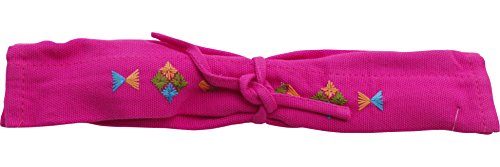 RaanPahMuang Fair Trade Burma Hilltribe Cotton Utensil Holder Burmese Refugee Made, Pink Stars