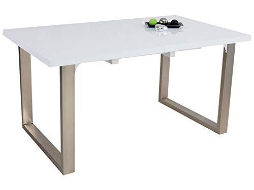 (Inspirer Studio Roman Extendible Dining Table Pedestal Table MDF High-Gloss White )
