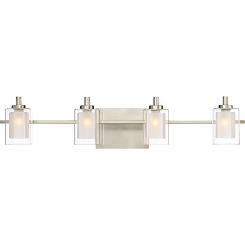"Quoizel KLT8604BNLED Kolt Modern Vanity Bath Lighting, 4-Light, LED 18 Watts, Brushed Nickel (6"" H x 29"" W)"