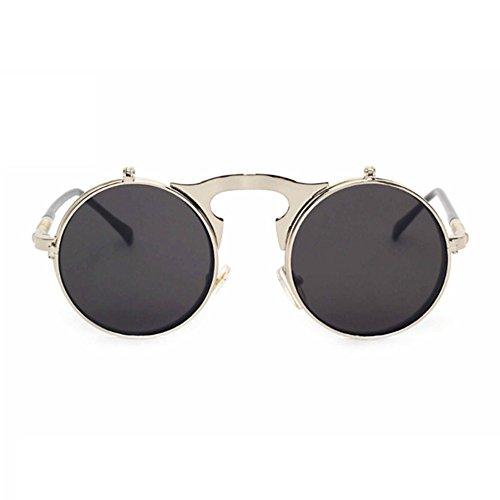Aoligei Flip de steam Punk métal rétro flip lunettes de soleil lunettes de soleil lunettes de soleil hommes et femmes style 8CEIyXSSC