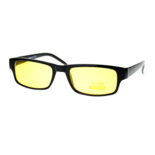 Black Rectangle Frame Yellow Lens Sunglasses Spring Hinge