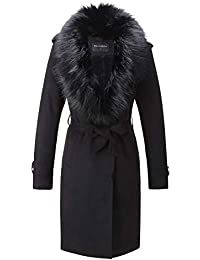 Women's Faux Suede Long Jacket, Lapel Outwear Trench Coat Cardigan with Detachable Faux Fur Collar for Winter