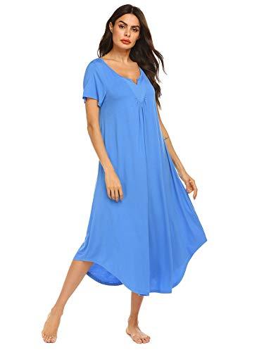 (Ekouaer Sleepwear Womens Cotton V Neck Nightdress Sleeveless Long Nightgown with Eye Mask (Blue5255, Small))